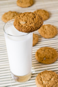 Royalty Free Photo of a Glass of Milk and Cookies