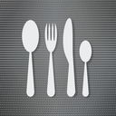 Silverware on the metal surface background
