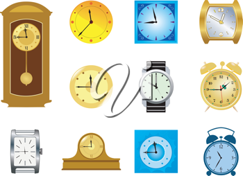 Royalty Free Clipart Image of Clocks