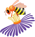 Colored illustration of bee on white background