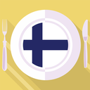 plate in flat style with flag of Finland