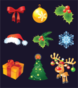 Royalty Free Clipart Image of a Set of Christmas Decorations