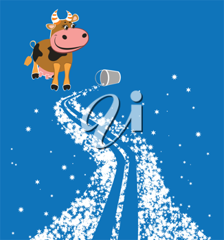 Royalty Free Clipart Image of a Cow on the Milky Way