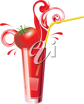 Royalty Free Clipart Image of a Glass of Tomato Juice