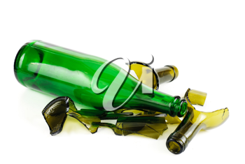 Royalty Free Photo of a Wine Bottle and a Broken Bottle