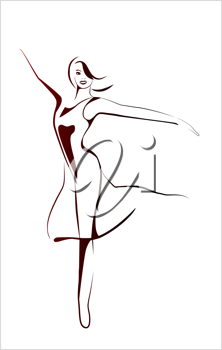 Royalty Free Clipart Image of a Girl Dancing