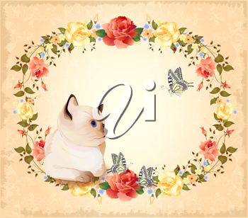 Royalty Free Clipart Image of a Siamese Cat With Flowers