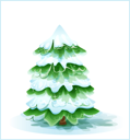 Royalty Free Clipart Image of a Snow Covered Tree