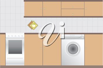 Royalty Free Clipart Image of a Kitchen Interior