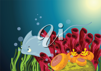 Royalty Free Clipart Image of a Stingray Underwater