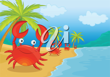 Royalty Free Clipart Image of a Crab on the Beach