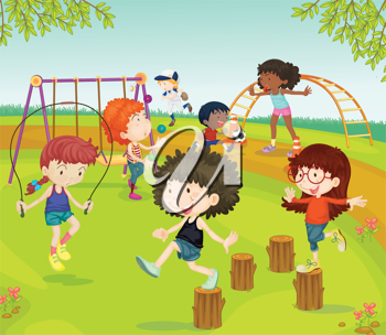 Royalty Free Clipart Image of Children in a Playground