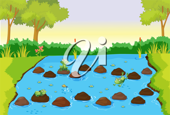 Royalty Free Clipart Image of a Frog Pond