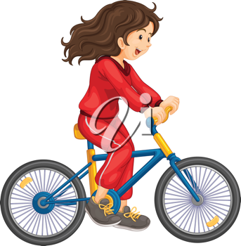 Illustration of girl cycling white background