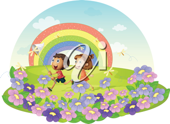 Illustration of kids in a field chasing insects