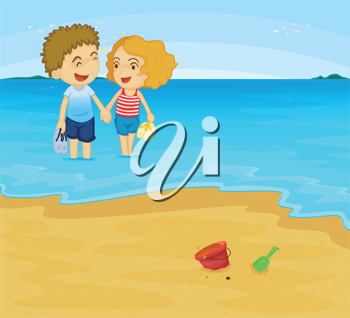 Illustration of romantic couple in water