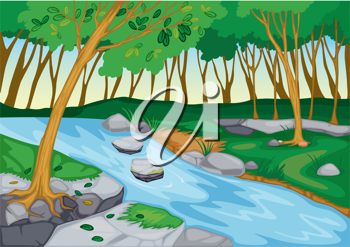 illustration of river flowing in beautiful nature