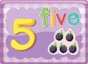 Illustrated flash card showing the number 5