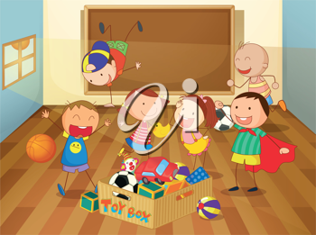 detailed illustration of kids in a classroom