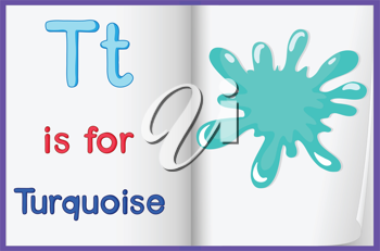 Illustration of a turquoise splash in a book on a white background