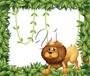 Illustration of a lion king and the leafy frame