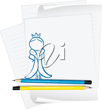 Illustration of a paper with a sketch of a queen on a white background
