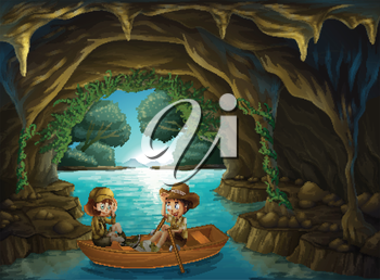 Illustration of a cave with two kids riding in a wooden boat