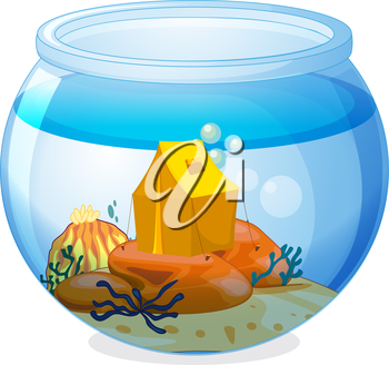 Illustration of a tent inside the aquarium on a white background