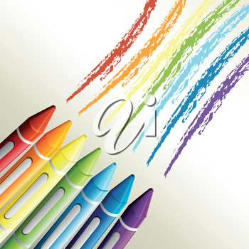 Illustration of the colorful crayons on a white background