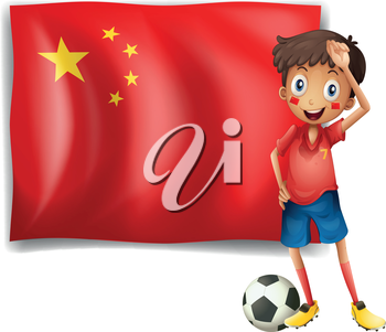 Illustration of an athlete in front of the flag of China on a white background