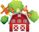Illustration of a barn with a chicken and fruits at the back  on a white background