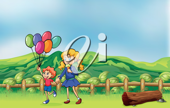 Illustration of a happy child with balloons and a girl eating an ice cream