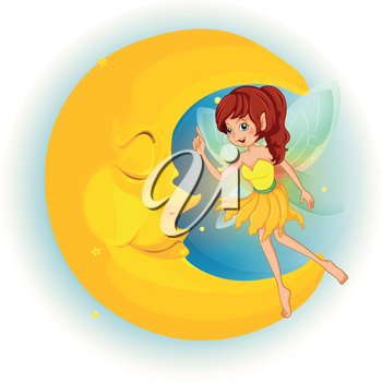 Illustration of a fairy with a yellow dress beside a sleeping moon on a white background