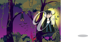 Illustration of a jungle with a vampire