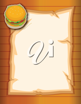 Illustration of a paper with a burger at the top