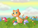 Illustration of a wild cat and the easter eggs
