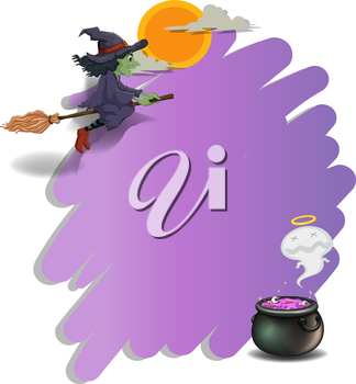 Illustration of a witch riding on a broom and an empty violet template on a white background