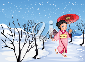 Illustration of a chinese girl holding an umbrella walking outside with snow