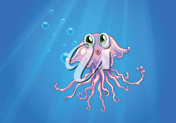 Illustration of an octopus under the sea