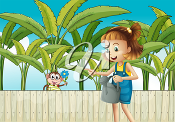 Illustration of a girl holding a sprinkler near the wooden fence
