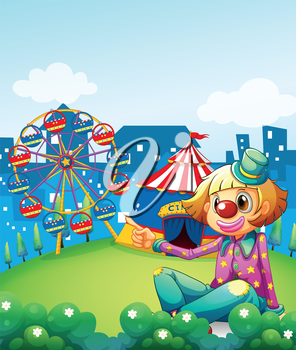 Illustration of a female clown pointing the carnival
