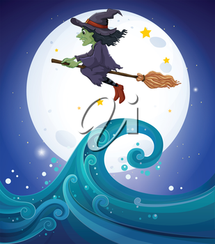 Illustration of a witch above the giant waves