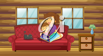 Illustration of a mother reading with her daughter at the sofa