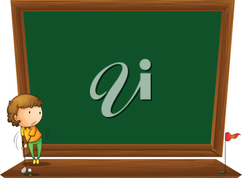 Illustration of a blackboard with a boy playing golf on a white background