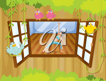 Illustration of a girl performing yoga inside a house with birds at the window