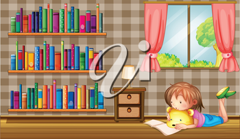 Illustration of a girl reading a book near a window with a pink curtain