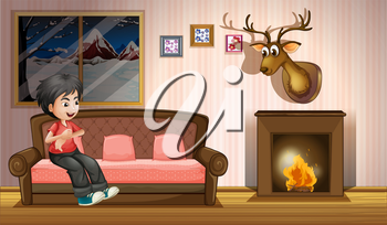 Illustration of a boy sitting at the sofa near the fireplace