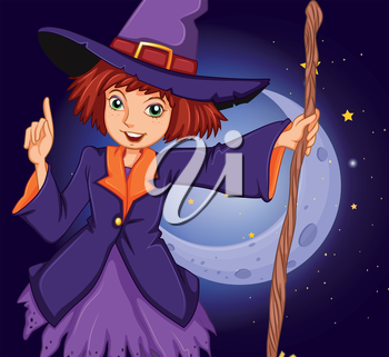 Illustration of a witch holding a stick in front of the crescent moon