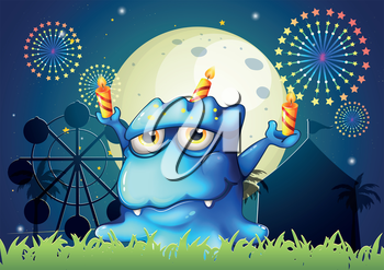 Illustration of a carnival with a monster with three candles