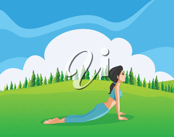 Illustration of a young lady doing yoga at the hilltop
